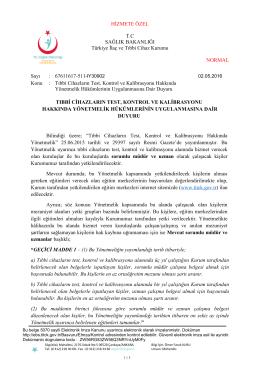 Ek - Türkiye İlaç ve Tıbbi Cihaz Kurumu