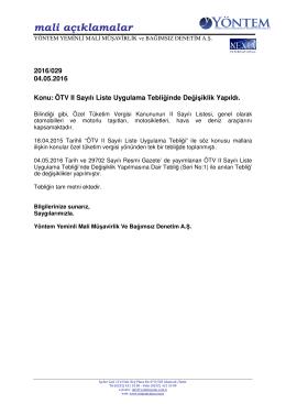 2016-029 ÖTV II Sayılı Liste Uygulama Tebliğinde