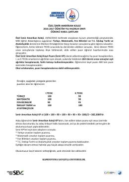 Özel İzmir Amerikan Koleji 2016-2017 Eğitim
