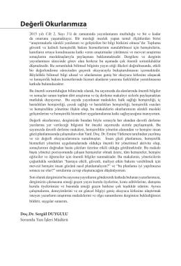 Değerli Okurlarımıza - Hacettepe Üniversitesi Hemşirelik Fakültesi
