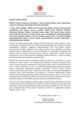 Kolluk Gözetim Komisyonunun Kurulmasına ilişkin basın
