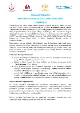 Dünya ASTIM Günü Basın Bildirisi