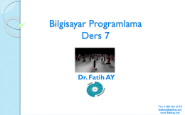 Ders 7 (04.05.2016) - Yrd.Doç.Dr.Fatih AY