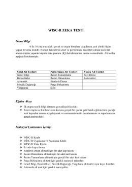 da WISC-R Zeka Testi - Psikolojik Testler Derneği