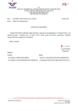 30.04.2016 - Devlet Demir Yollari 6.Bölge