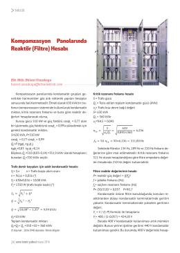 Kompamzasyon Panolarında Reaktör (Filtre) Hesabı