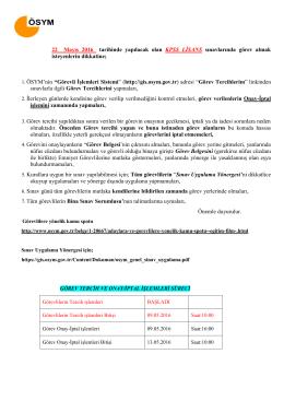 22 Mayıs 2016 tarihinde yapılacak olan KPSS LİSANS sınavlarında