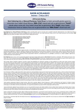 JCR Eurasia Rating, Kent Faktoring A.Ş.ve Mevcut/Planlanan Tahvil