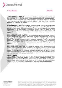 Yurtdışı Piyasalar 05.05.2016 ALTIN
