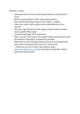 IBP Ödev 1. Aşama: - Statik sayfa tasarımı (sunucu taraflı