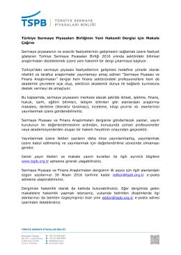 Türkiye Sermaye Piyasaları Birliğinin Yeni Hakemli Dergisi