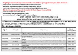 (İ.Ö.) Araştırma Yöntem ve Teknikleri Dersi Ödev Konuları