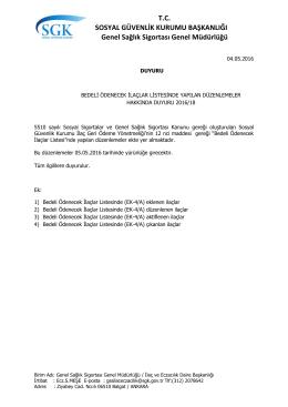 Bedeli Ödenecek İlaçlar Listesinde Yapılan Düzenlemeler Hakkında