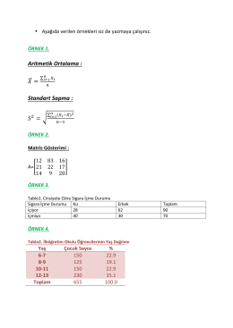 Aritmetik Ortalama : = Standart Sapma : =