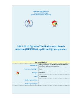 2015-2016 Öğretim Yılı Okullararası Puanlı Atletizm (MERSİN) Grup