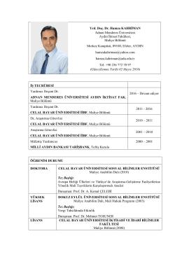 Yrd. Doç. Dr. Hamza KAHRİMAN Adnan Menderes Üniversitesi