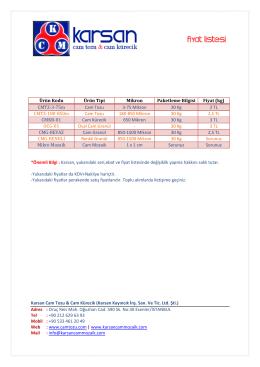 2016 Fiyat Listesi - KARSAN Cam Mozaik