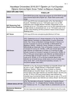 Kabul Edilen Sınavlar - Hacettepe Üniversitesi Uluslararası Öğrenci