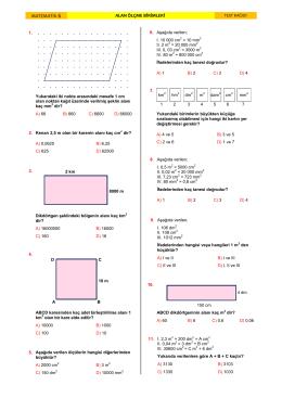 alan ölçü birimleri Test Kağıdı