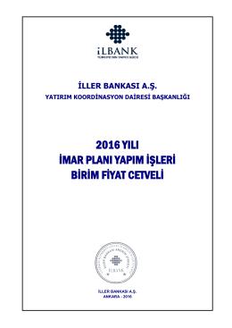 2016 yılı imar planı yapım işleri birim fiyat cetveli