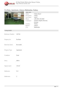 For Rent, Apartment, Alanya, Mahmutlar, Turkey