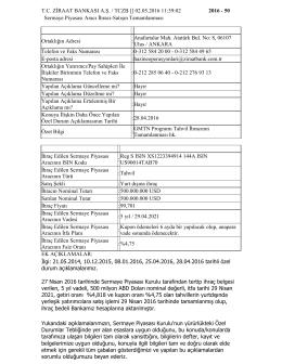 02.05.2016 GMTN Programı Tahvil İhracının Tamamlanması Hk.