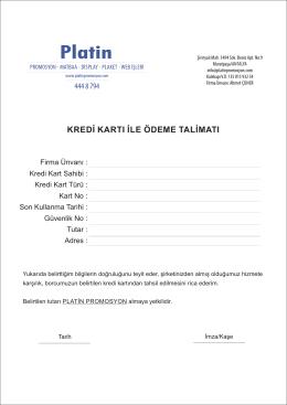 Mail Order Formu - Platin Promosyon