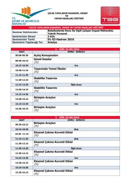 01-03 Haziran 2016 Açılış Konuşmaları Genel Esaslar İTÜ