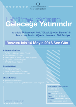 Başvuru için 16 Mayıs 2016 Son Gün