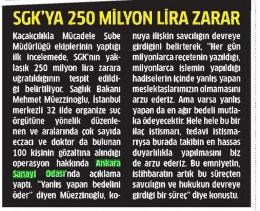 sgk`ya 250 milyon lira zarar