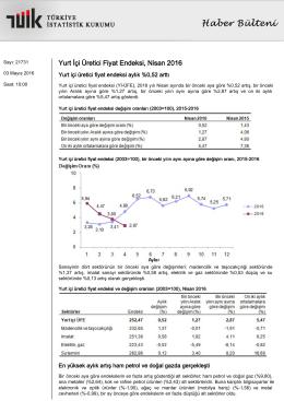 Yurt İçi Üretici Fiyat Endeksi-(Nisan 2016