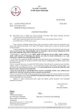 Müdürlük Ek Başvuru Duyurusu - elazığ il millî eğitim müdürlüğü