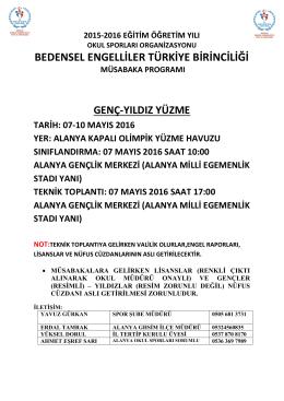 bedensel e.türkiye finali - Antalya Gençlik ve Spor İl Müdürlüğü