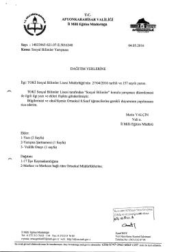 Müdürlüğümüzün konu ile ilgili 04/05/2016 tarih ve 5016340