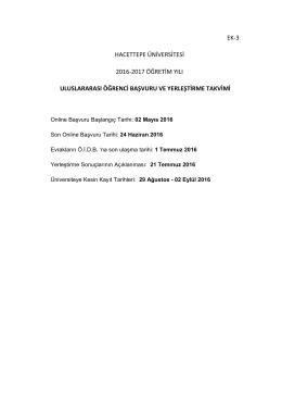 uluslararası öğrenci başvuru ve yerleştirme takvimi