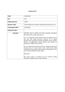 AÇIKLAYICI NOT TARİH 05/05/2016 SAYI 292 RESMİ GAZETE NO