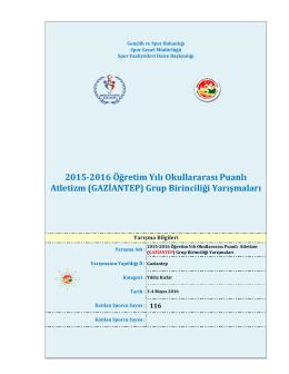 2015-2016 Öğretim Yılı Okullararası Puanlı Atletizm (GAZİANTEP