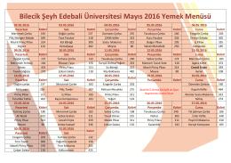 Bilecik Şeyh Edebali Üniversitesi Mayıs 2016 Yemek Menüsü