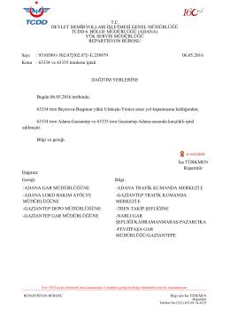 06.05.2016 - Devlet Demir Yollari 6.Bölge