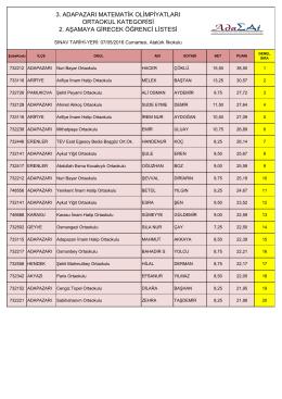 3. adapazarı matematik olimpiyatları ortaokul kategorisi 2. aşamaya