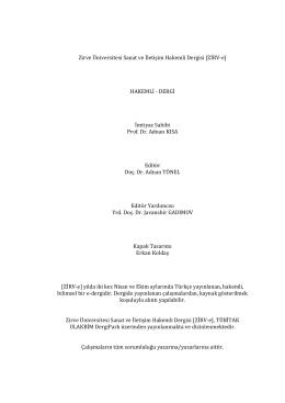 Zirve Üniversitesi Sanat ve İletişim Hakemli Dergisi