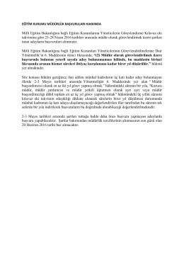 Milli Eğitim Bakanlığına bağlı Eğitim Kurumlarına Yöneticilerin