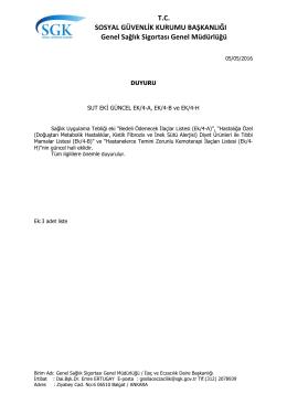 Güncel Bedeli Ödenecek İlaçlar Listesi (05/052016 Tarihinden