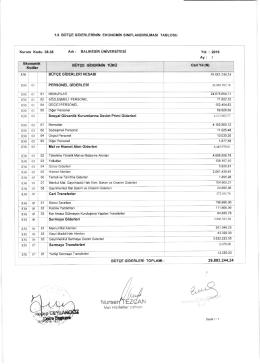 Tablo 1.8 Bütçe Giderlerinin Finansal Sınıflandırılması Tablosu