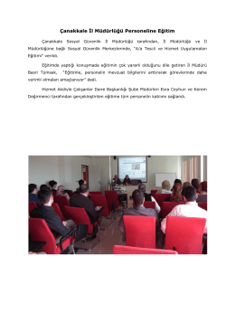Çanakkale İl Müdürlüğü Personeline Eğitim