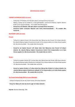 GÖSTERGELERLE NİJERYA YABANCI YATIRIMLAR (2015 yılı sonu)