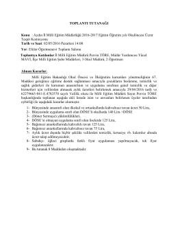 TOPLANTI TUTANAĞI Konu : Aydın İl Milli Eğitim Müdürlüğü 2016