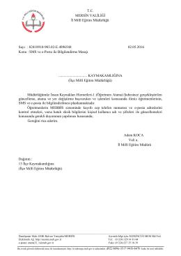 SMS ve e-Posta i - Mersin İl Milli Eğitim Müdürlüğü