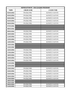 TARİH ( 08.00-12.00) ( 13.00-17.00) 02.05.2016 POLİKLİNİK