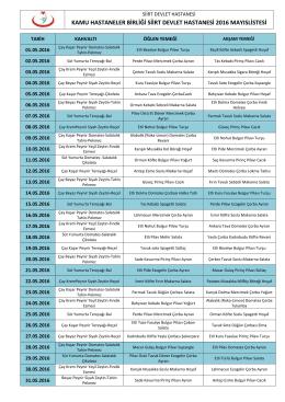 Aylık Yemek Listesi - Siirt Devlet Hastanesi